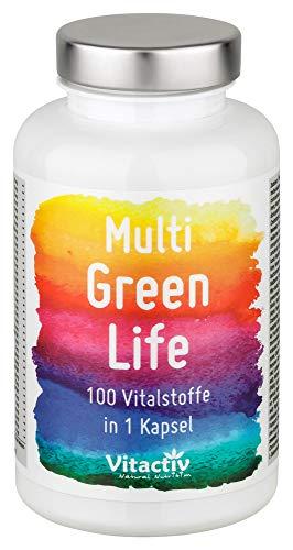 MULTI GREEN LIFE Vitamine & Mineralien, 100 hochdosierte Green Food Multivitamine: Vitamin A, Vitamin B 12, Vitamin C, Vitamin E, Folsäure u.a, Mineralstoffe: Zink, Eisen, Magnesium u.a, 90 Kapseln