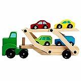 RUMUI Camión portacoches de Dos Pisos para niños, Juego de Juguetes de Madera para Autos
