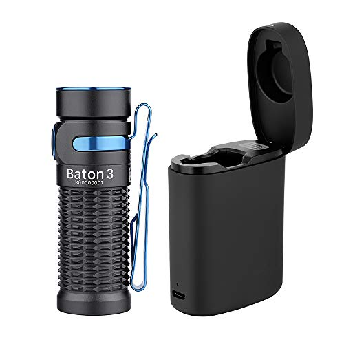 OLIGHT Baton3 Premium Edition 1200 Lumens Compact LED Flashlight Powered by a Single Rechargeable 550mAh 3.7V IMR16340 Battery, with Wireless Charging Box, Black