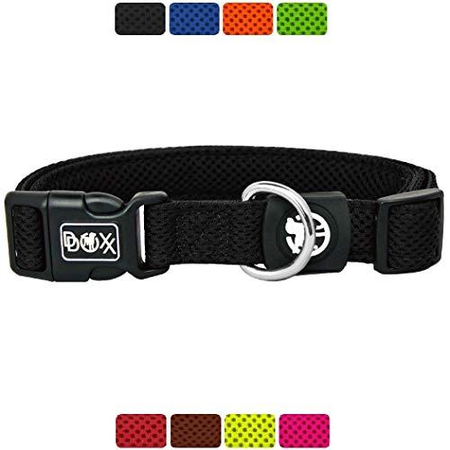 DDOXX Hundehalsband Air Mesh, verstellbar, gepolstert | viele Farben & Größen | für kleine & große Hunde | Halsband Hund Katze Welpe | Hunde-Halsbänder breit | Katzen-Halsband klein | Schwarz, S