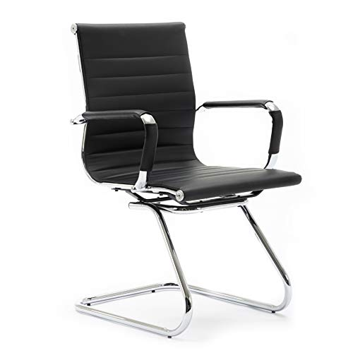 Wahson Heavy Duty Leather Office Guest Chair Mid Back Sled Reception Conference Room Chairs, Black, One Pack