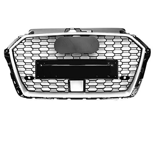 PPCP Stoßfänger Grill, Auto Vorderen Mit Acc Loch Für Audi A3 S3 8V 2017 2018 2019 Vorderseite Grille RS3 Look Netz Mit Schwarz & Silber Emblem,with Silver Emblem