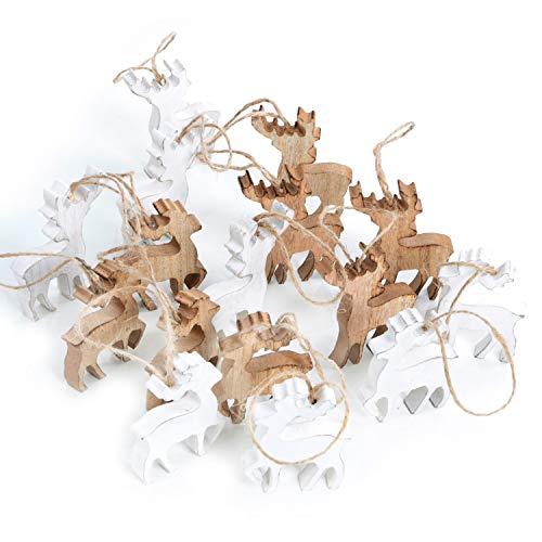 Logbuch-Verlag Reno para colgar de madera, color marrón y blanco, colgante de madera como decoración navideña, colgante de regalo, 7 cm