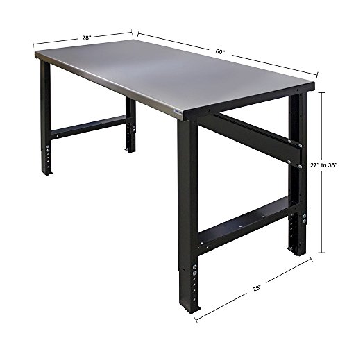 Borroughs Adjustable Height Work Bench with Stainless Steel Top, 28 inches x 60 inches