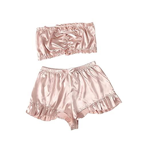 Conjunto de Pijamas con Top de Tubo para Mujer Pijamas de con Lazo Lindo Traje Rosa de Dos Piezas Sujetador de Saten Conjunto Lenceria Fina