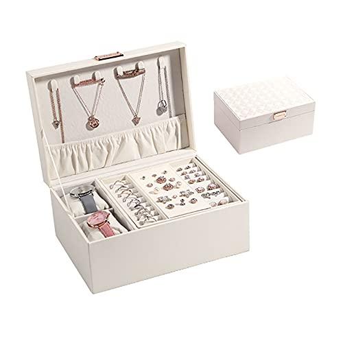 YiHao Organizador de Caja de joyería, Cuero de la PU Senior, Caja de Almacenamiento de Joyas de tamaño Mediano,Blanco