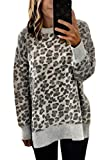 Angashion Women's Sweatshirts - Casual Leopard Print Crewneck Long Sleeve Oversized Pullover Tunic Sweatshirt Tops (L, Grey)