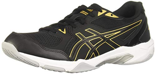 ASICS Men's Gel-Rocket 10 Indoor Court Shoes, 8, Black/Pure Gold