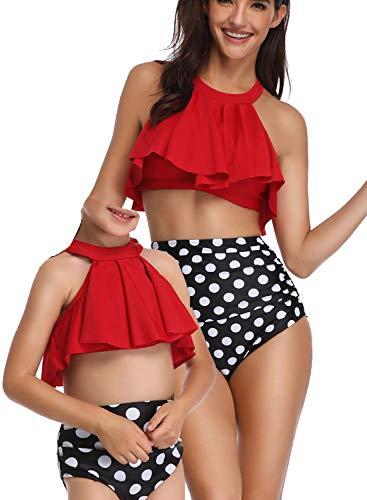 Sixyotie Madre e Hija Bikinis Traje de baño Padre-Hijo Bikini Traje de Baño,Mamá Niña Bañadores de Mujer de Verano Playa (Red, EU 46-48)