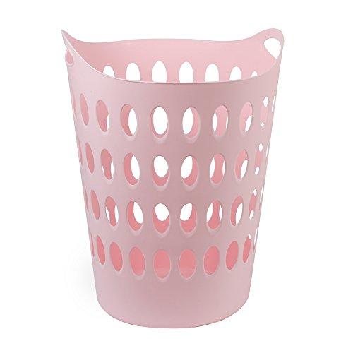 DRULINE Wäschekorb Kunststoff Wäschetruhe Wäschebox 50L Wäschesammler Rund Rosa