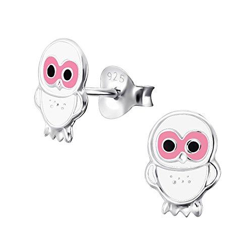 Laimons Kids Orecchini a pressione per bambini gioielli per bambini Gufo Bianco Argento Sterling 925