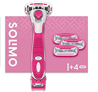 Amazon Brand - Solimo Female 5 Blade Razor with 3-in-1 Trimmer and 4 Blades