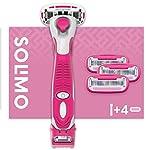 Marca Amazon - Maquinilla de afeitar femenina de 5 cuchillas Solimo con recortadora 3 en 1 y 4 cuchillas
