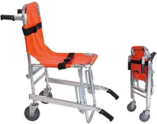 PoJu EMS Treppenstuhl, Aluminium Leichtgewicht Krankenwagen Feuerwehrmann Evakuierung Medical Lift Treppenstuhl mit Schnellverschluss, Orange