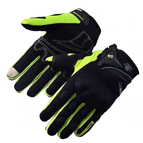 Guante de Motocross con Pantalla táctil de Verano, Guante de Motocross Transpirable de Malla de Dedo Completo, Guantes de Moto MTB para Dirt Bike-SU09-Green-1-L