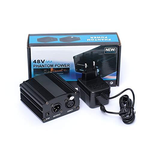 jiheousty Alimentatore Phantom 48V con Adattatore AU US EU Plug per Microfono Karaoke a condensatore