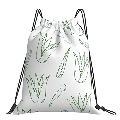 Nicegift Aloe Vera Sports Fitness Outdoor Leisure Drawstring Backpack