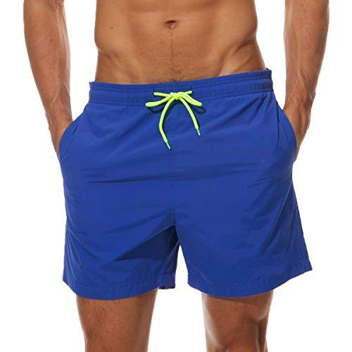 Neusky Herren Beachwear Badeshorts Badehose Schwimmshorts (Blau, XL)