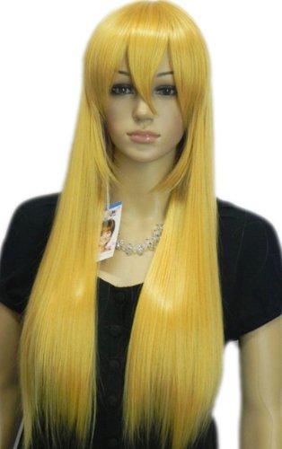 Qiyun Blond Jaune Longue Raide Synthetique Cheveux Complete Costume Perruque