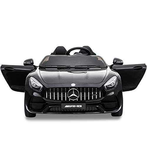 Lernonl Electric Cars for Kids 12v Mercedes Benz AMG 2 Seater Battery Powered Cars for Kids to Drive Ride On Car with Remote Control, LED Light, Music, USB, Horn (Black)