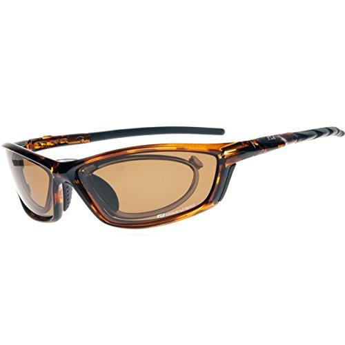 Daisan polarisierende Sonnenbrille Sportbrille mit Optik-Clip - braun
