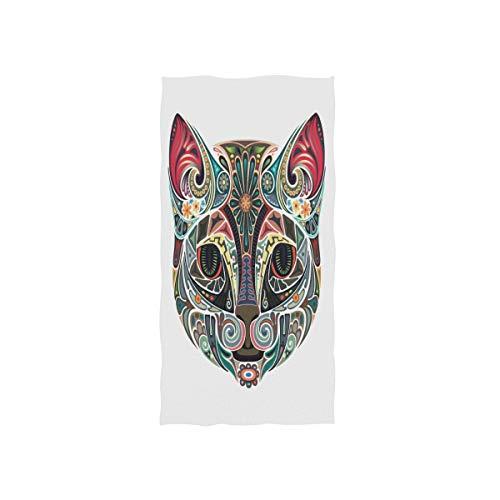 ALARGE Toalla facial tribal étnico animal gato toalla de mano absorbente durable toallas suaves para el hogar cocina baño playa deporte piscina gimnasio spa