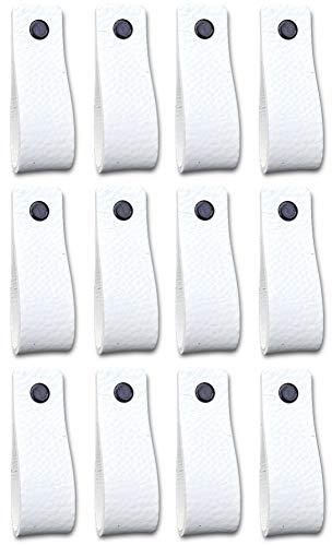 Brute Strength - Tirador de cuero - Blanco - 12 piezas - 16,5 x 2,5 cm - incluye tres colores de tornillos por manija de cuero para los gabinetes de cocina - baño - gabinetes
