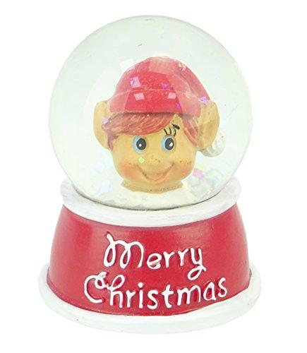 Globo de la nieve del brillo de la Navidad - Feliz Navidad - interior del diseño del duende - decoraciones tradicionales de la Navidad