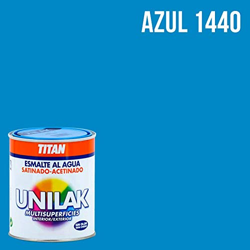 Esmalte al agua Unilak satinado - 750 mL, 1440 Azul