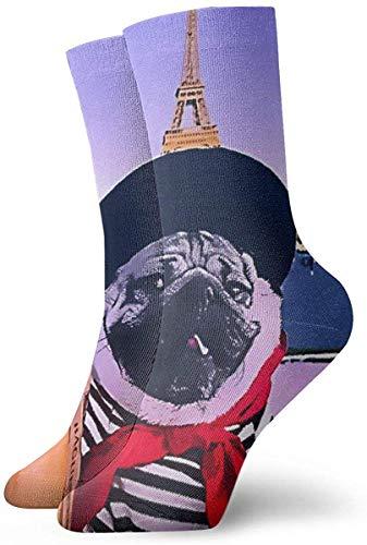 Green Haoke Süßer Mops und Brot im Eiffelturm Socken mit Mittelhoher Wadenbesatzung Atmungsaktive Sportsocken Klassiker Hohe Söckchen für Erwachsene Teens Unisex
