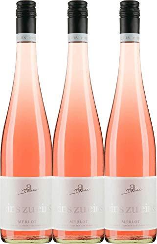 VINELLO 3er Weinpaket Roséwein - Merlot Rosé eins zu eins feinherb 2019 - A. Diehl mit Weinausgießer | halbtrockener Rosé | deutscher Sommerwein aus der Pfalz | 3 x 0,75 Liter