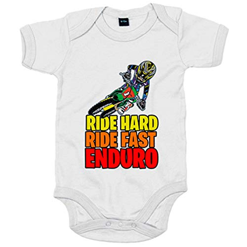 Body bebé Motocross Ride Hard Ride Fast Enduro - Blanco, 6-12 meses