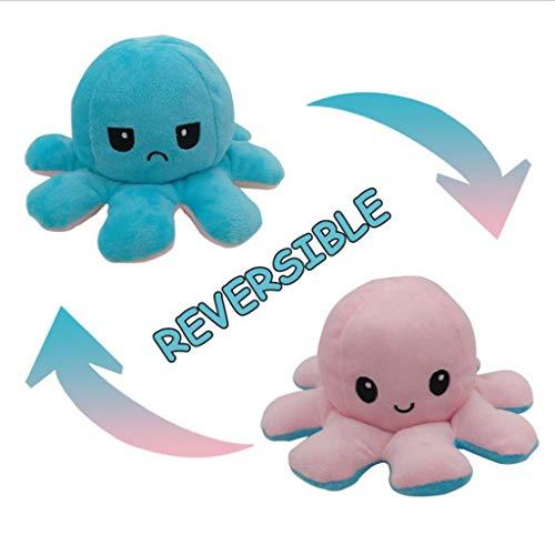 Reversible Octopus Plüschtier, Niedliche Octopus Plüschtiere, Doppelseitige Flip Octopus Puppe, waschbar 3,9 Zoll Kuscheltiere, kreative Kinderspielzeuge und -Geschenke, Mädchen, Jungen (A-Grün+Pink)