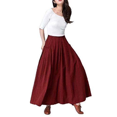 Saia Abetteric feminina drapeada longa elástica casual bolso cor sólida, Wine Red, US X-Small=China Small