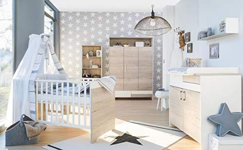 Schardt 11 953 28 00 kinderkamer Clou Oak met combi-kinderbed, commode en 3-deurs kledingkast, beige