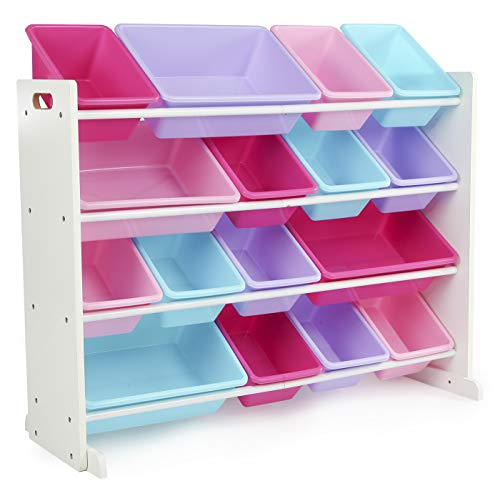 Humble Crew, White/Blue/Pink/Purple Extra-Large Toy Organizer, 16 Storage Bins