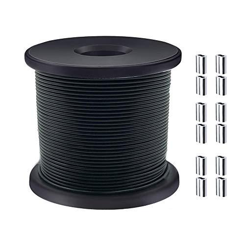 FOLUXING - Cuerda de alambre negro con revestimiento de vinilo, acero inoxidable 304, 480 lbs de resistencia a la rotura para colgar guirnaldas, plantas artificiales y linternas