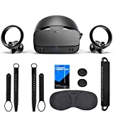 Oculus - Rift S PC-Powered VR Gaming Headset - Black, Two Touch Controllers, Fit Wheel Adjustable Halo Headband, Motion Insight Tracking Sensor, TSBEAU Knuckle Straps, Cleaning Cloth, Portable Pocket