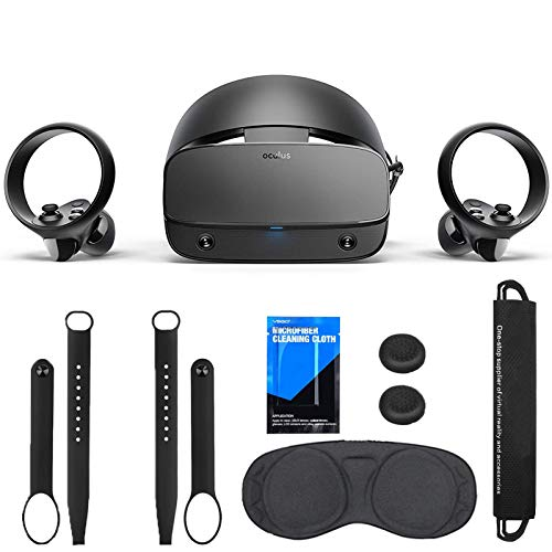 Oculus - Rift S PC-Powered VR Gaming Headset, 3D Virtual Reality System, Black, Bundle with TSBEAU Knuckle Straps&Portable Bundle Pocket&Wipe