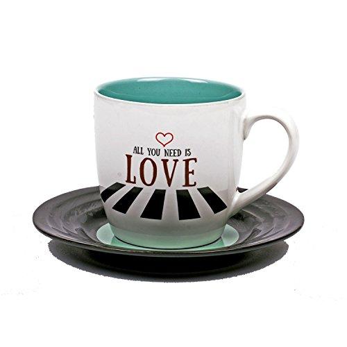 Thumbs Up Tassen-Set Lyrical Mug Love 2-Lennon & McCartney, Keramik, weiß, 15.78 x 10 x 15.7 cm, 2-Einheiten
