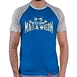 Hariz - Camiseta de béisbol para hombre, diseño de bretzen, traje tradicional tirolés y Oktoberfest, incluye tarjeta de regalo Azul real y gris. XXL