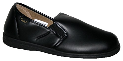 Dr Keller Chris para Hombre Funda de Piel sintética Zapatillas de Velcro Negro, Color, Talla 47