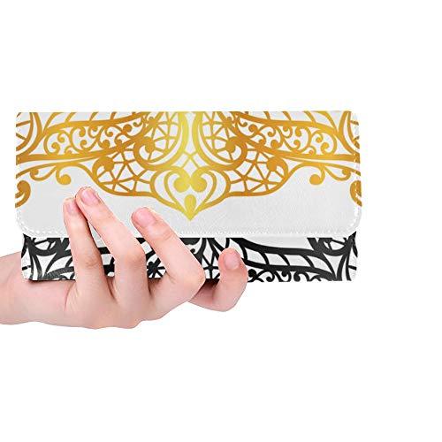 RFID Blocking Geldbörse Mädchen Brieftasche Lange Maskerade Verschiedene Particlar Maske Damen Brieftasche Lange dreifach gefaltete Leder Damen Brieftasche Lange Kreditkartenhalter Fall Handtasche
