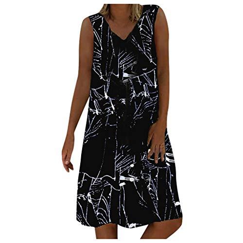 ZODOF Mujer Vestidos Casual Playa Boho Floral Maxi Vestido Bohemio Playa Color Liso Verano Suelto Vestidos