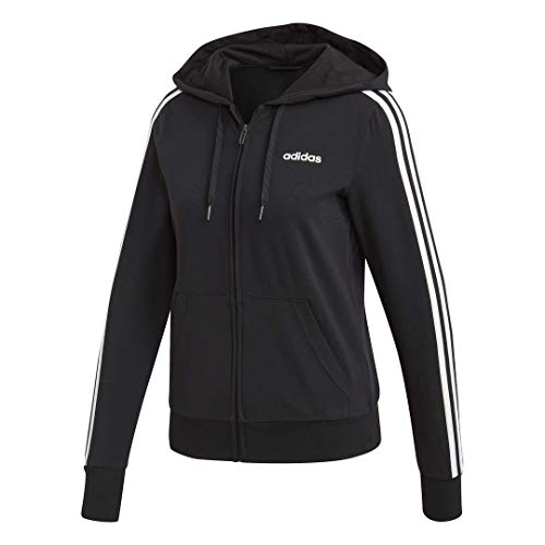 adidas Women's Essentials 3-stripes Single Jersey Full-zip Hoodie, Black/White, Medium
