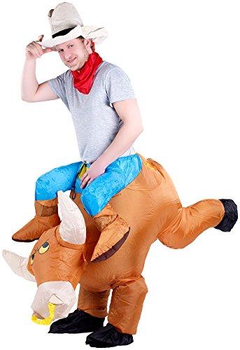Playtastic Party-Kostüme: Selbstaufblasendes Kostüm Bullenreiter (Karnevalskostüm aufblasbar)