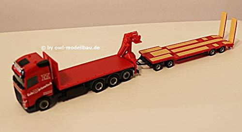 Herpa Volvo FH GL Flatbed Truck with Crane and Goldhofer TU4 - Gebrüder Markewitsch. 1:87