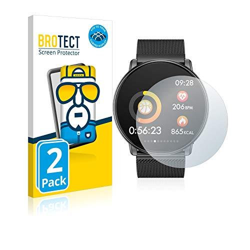 2X BROTECT Flex Full-Cover Displayschutz Schutfolie für Azorex Smartwatch Q88 (kristallklar, Edge to Edge, Self-Healing, stoßabsorbierend)