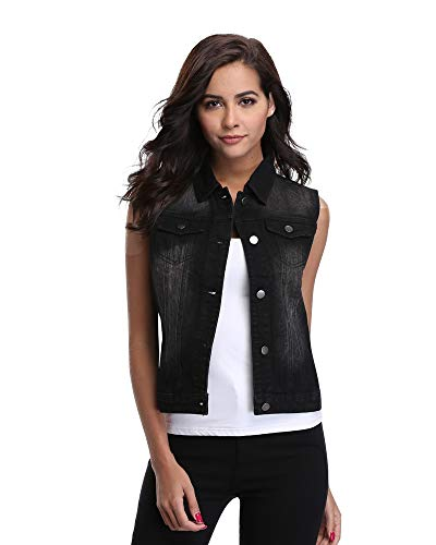 MISS MOLY Women Jean Vest Jacket with Denim Vest Sleeveless Cropped with 2 Chest Pockets-M Black