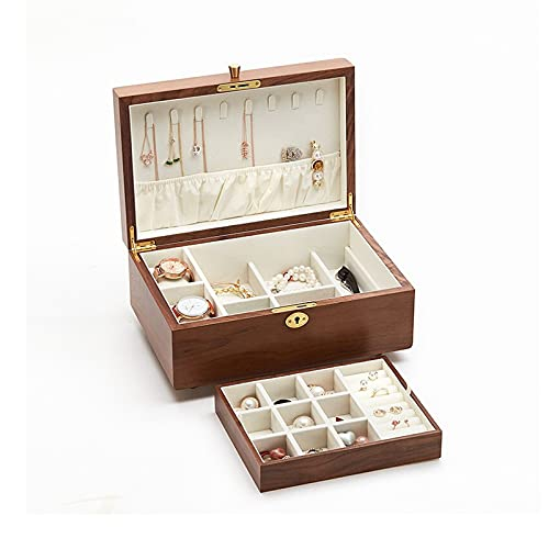 Caja Joyero Caja de Joyas Caja de joyería de Madera - Organizador de Joyas de 2 Capas con Bandeja de Anillo y Bloqueo para Mujeres y niñas - Soporte para Pendiente Collar y Pulsera Ewelry Organizer